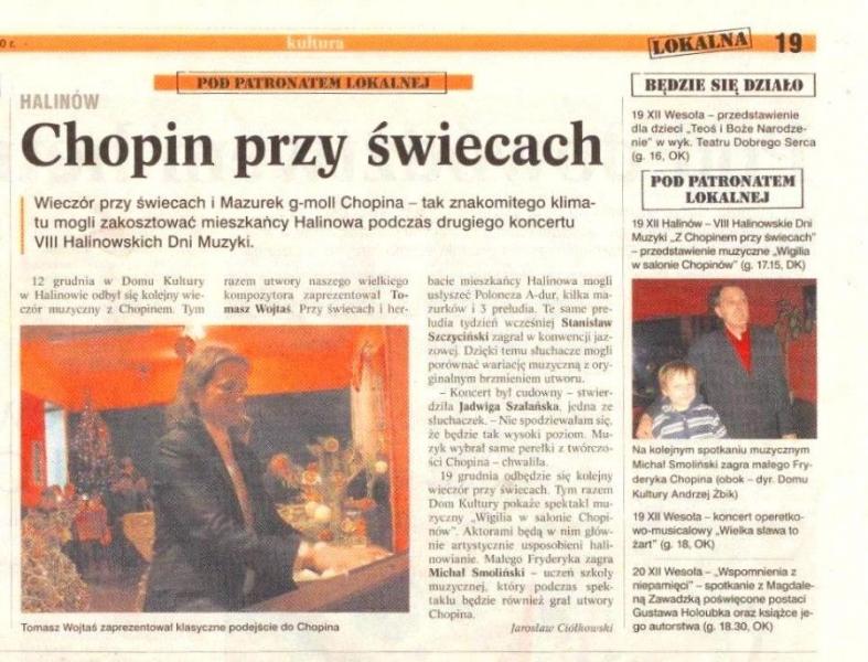 \'Chopin przy świecach\'\'. Tygodnik Lokalna, 16 XII 2010 r.