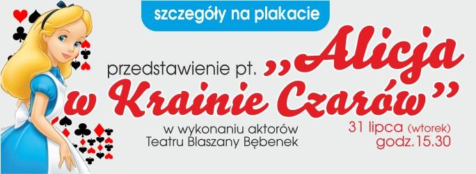 """GCK zaprasza na przedstawienie pt. """"Alicja w Krainie Czarów"""" – 31 lipca (wtorek) godz. 15.30"""